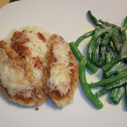 Lighter Chicken Parm with steamed green beans