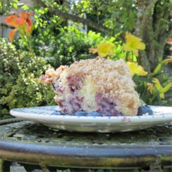 Toasted Coconut Topped Bueberry Cake