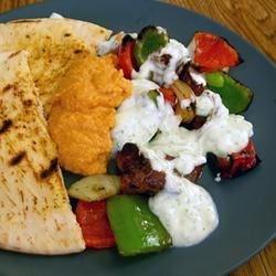 Souvlaki with Tzatziki Sauce, Hummus and Pita