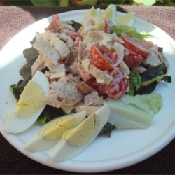 Warm Chicken, Bacon, and Egg Salad with Mayonnaise Dressing Recipe