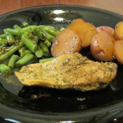 Easy Garlic Broiled Chicken w/ Roasted Baby Red Potatoes & Steamed Green Beans (August 13, 2013)