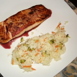 Panfried Salmon with Pinot Noir Sauce and vegetable Rice