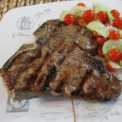 Greek-Seasoned T-Bone Steaks w/ Cucumber and Tomato Salad