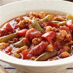 Turkey Green Bean Chili with Cheesy Corn Fritters