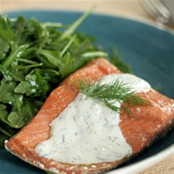 Poached Salmon Salad with Honey-Yogurt Dressing Recipe