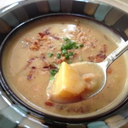 Roasted Garlic Potato Soup with Smoked Salmon