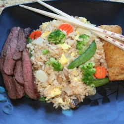 Vegetable Fried Rice with Bison Skirt Steak