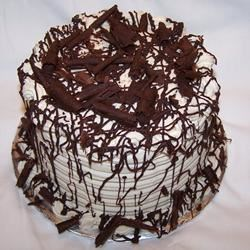 Chocolate mocha cake with stabilized whipped cream icing
