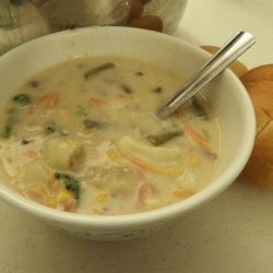 Hearty Veggie Soup in a Creamy Mushroom Broth Recipe