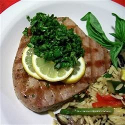 Swordfish Steaks with Arugula and Basil Sauce Recipe