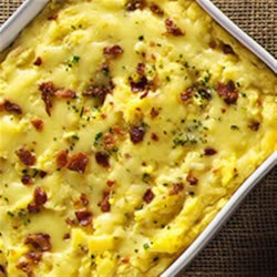 Garlic Mashed Potatoes with Roasted Garlic Cheddar and Bacon Recipe