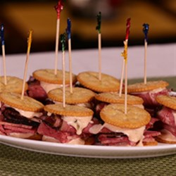 RITZ Pastrami and Corned Beef Mini Sandwich, created by Carnegie Deli Recipe