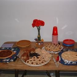Pecan Pie, Pumpkin Pie, several different cookies and bars, cherry pie, and apple pie