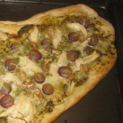 Grape, Chicken, and Walnut Pesto Pizza Recipe