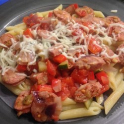 Penne, Peppers, and Chicken-Apple Sausage Saute Recipe