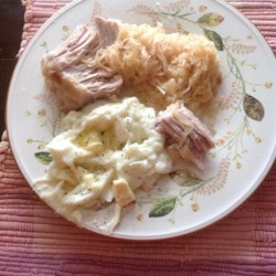 Pork Roast with Apples, Beer, and Sauerkraut