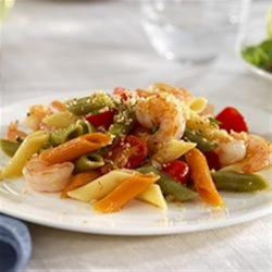 Tri-Color Penne with Shrimp, Grape Tomatoes and Basil Bread Crumbs Pasta Salad Recipe
