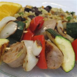 Sweet Italian Chicken Sausage Kabobs with Orzo Brown Rice Pilaf