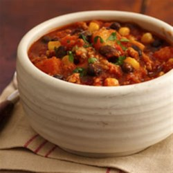 Tex-Mex Turkey Chili with Black Beans, Corn and Butternut Squash Recipe