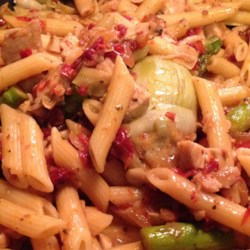 Chicken Penne with Asparagus, Sun-dried Tomatoes, and Artichoke Hearts Recipe