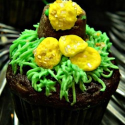 Chocolate cupcake with gold