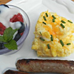 Cheesy Oven Scrambled Eggs