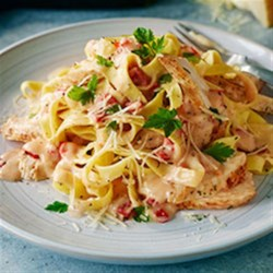 Pasta with Chicken and Roasted Pepper Cream Sauce (Lighter) Recipe