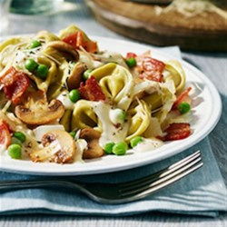 Tortellini Alfredo with Peas and Bacon Recipe