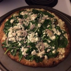 Greek Pizza with Spinach, Feta and Olives Recipe
