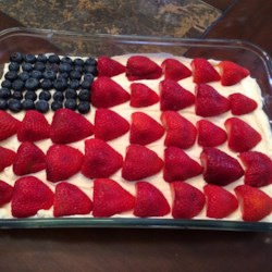 No-Bake Cheesecake Flag Cake