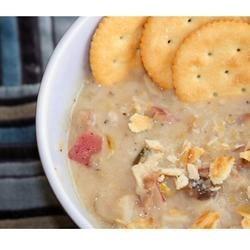 Photo of Leek Potato Mushroom Cheddar Soup by SHIRLEYLAMONTAGNE