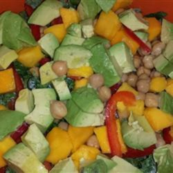 Summer Kale, Avocado, Mango, and Chickpea Salad with Citrus Poppy Seed Vinaigrette Recipe