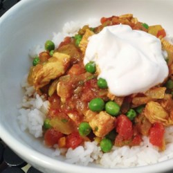 East Indian Chicken with Tomato, Peas, and Cilantro Recipe