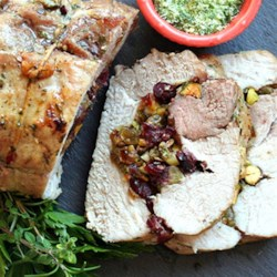 Herb Salted Pork Loin with Dried Fruit & Pistachio Stuffing Recipe ...