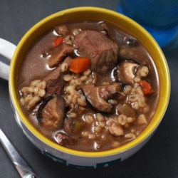 Kelly's Slow Cooker Beef, Mushroom, and Barley Soup Recipe
