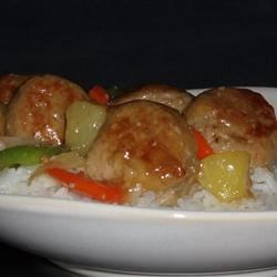 Sweet and Sour Meatballs (Suan T'ien Niu Jou Po Lo La Tzu)
