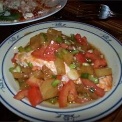 Salmon w/ Pineapple Tomato Salso