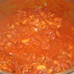 Buffalo Chicken Chili simmering in pot