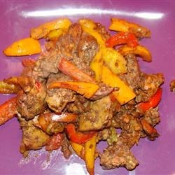 Savory Chicken Livers with Sweet Peppers and Onions Recipe