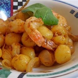 Photo of Creamy Saffron Shrimp with Gnocchi and Caramelized Onion by @lex