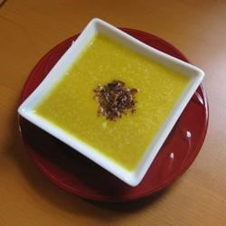 Curried Butternut Squash and Pear Soup with Frizzled Onions