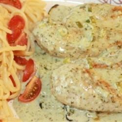 Photo of Lime Chicken with Cilantro Cream Sauce and Roasted Zucchini by Sandy Schoon