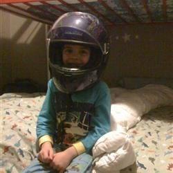 Max loves his new helmet