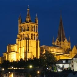 Lausanne cathedral at night