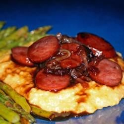 Raspberry Kielbasa over Cheese Grits Recipe