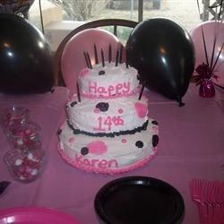 Karen's 14th Birthday Polka Dot Cake