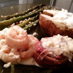 Filet Mignon with Garlic Shrimp Cream Sauce Recipe