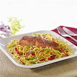 no yolks r maple balsamic glazed salmon with noodles
