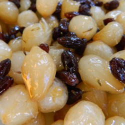 Glazed Pearl Onions With Raisins And Almonds Recipe