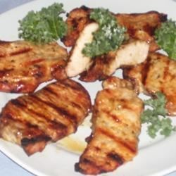 Grilled Pork Steaks with Lemon Butter Sauce